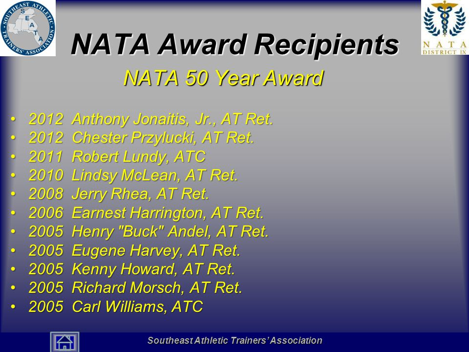 Southeast Athletic Trainers' Association Hall of Fame NATA 2013 Award Recipients NATA 25 Year Award Monroe Abram, MEd, ATCMonroe Abram, MEd, ATC Christine Knight Adams, ATC, CPT, LMTChristine Knight Adams, ATC, CPT, LMT Jon Adams, PA-C, ATCJon Adams, PA-C, ATC Robert Algee, ATCRobert Algee, ATC Rebecca J.