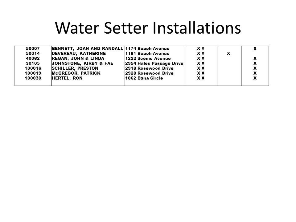 Water Setter Installations 50007 50014 40062 30105 100016 100019 100030 BENNETT, JOAN AND RANDALL DEVEREAU, KATHERINE REGAN, JOHN & LINDA JOHNSTONE, K