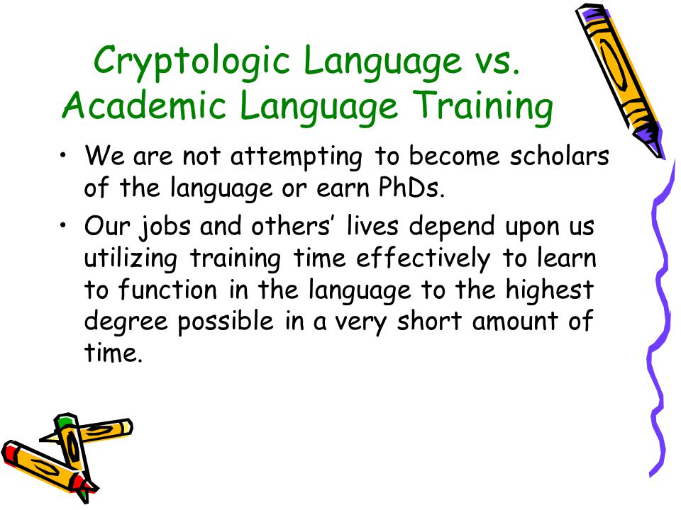 Cryptologic Language vs.