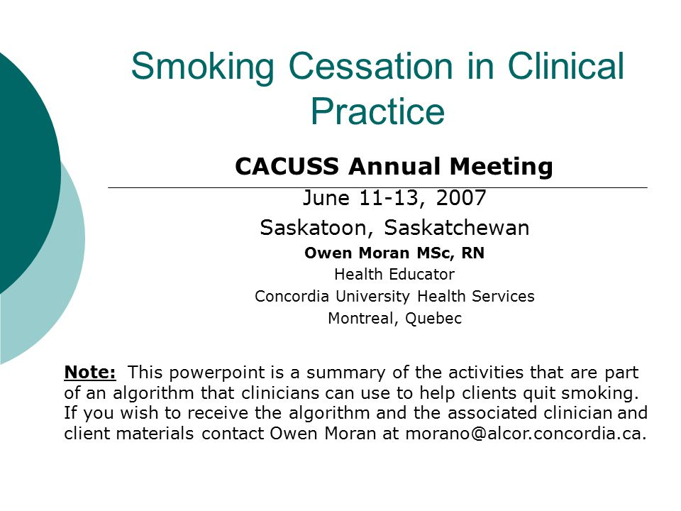 Objectives of Presentation  To present notable results from a smoking cessation survey of Concordia Health Services practitioners.