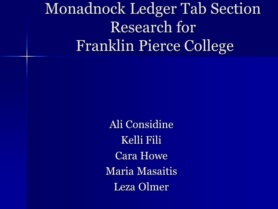 QUESTION 5 What would you like to see in the Tab section of the Monadnock Ledger.