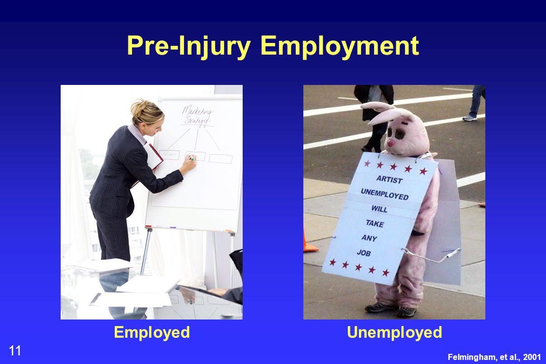 11 Pre-Injury Employment EmployedUnemployed Felmingham, et al., 2001