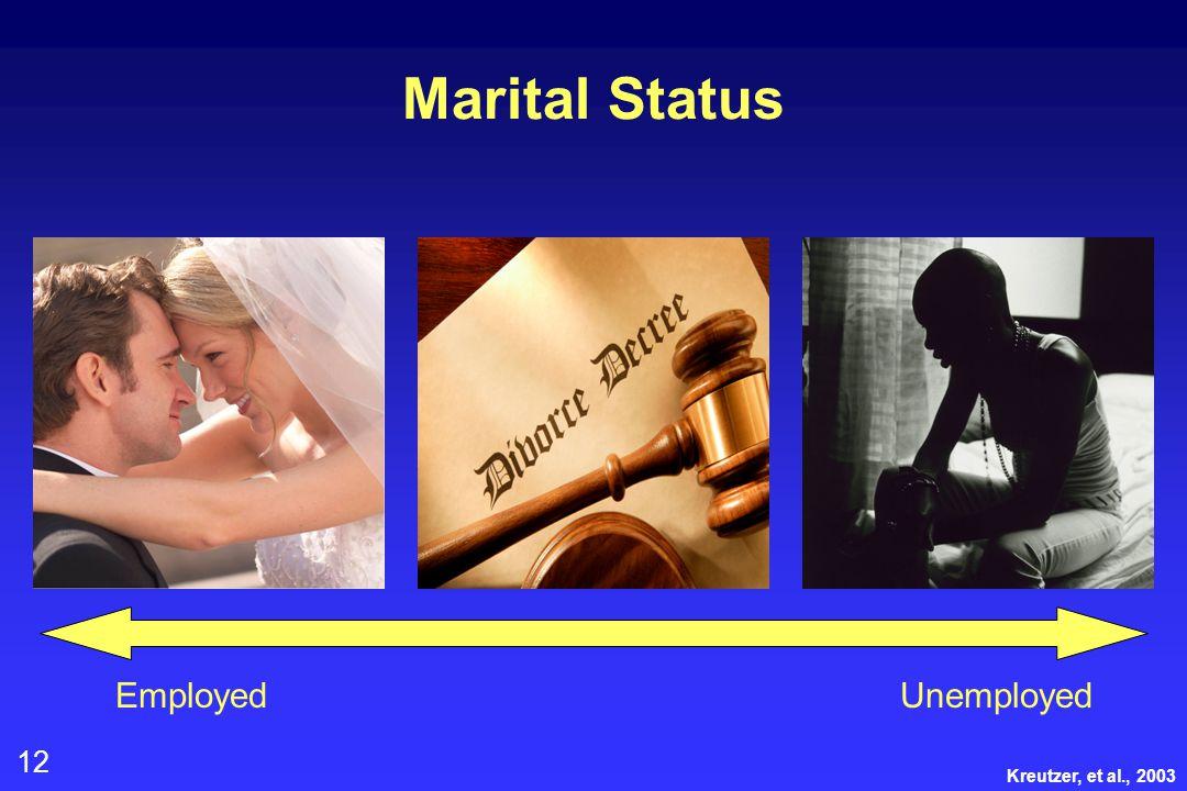 12 Marital Status EmployedUnemployed Kreutzer, et al., 2003
