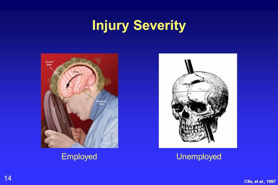 14 Injury Severity EmployedUnemployed Cifu, et al., 1997