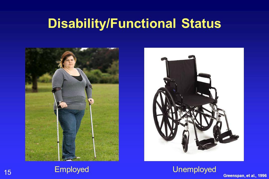 15 Disability/Functional Status Greenspan, et al., 1996 EmployedUnemployed