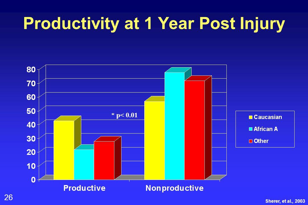 26 Productivity at 1 Year Post Injury * p< 0.01 Sherer, et al., 2003