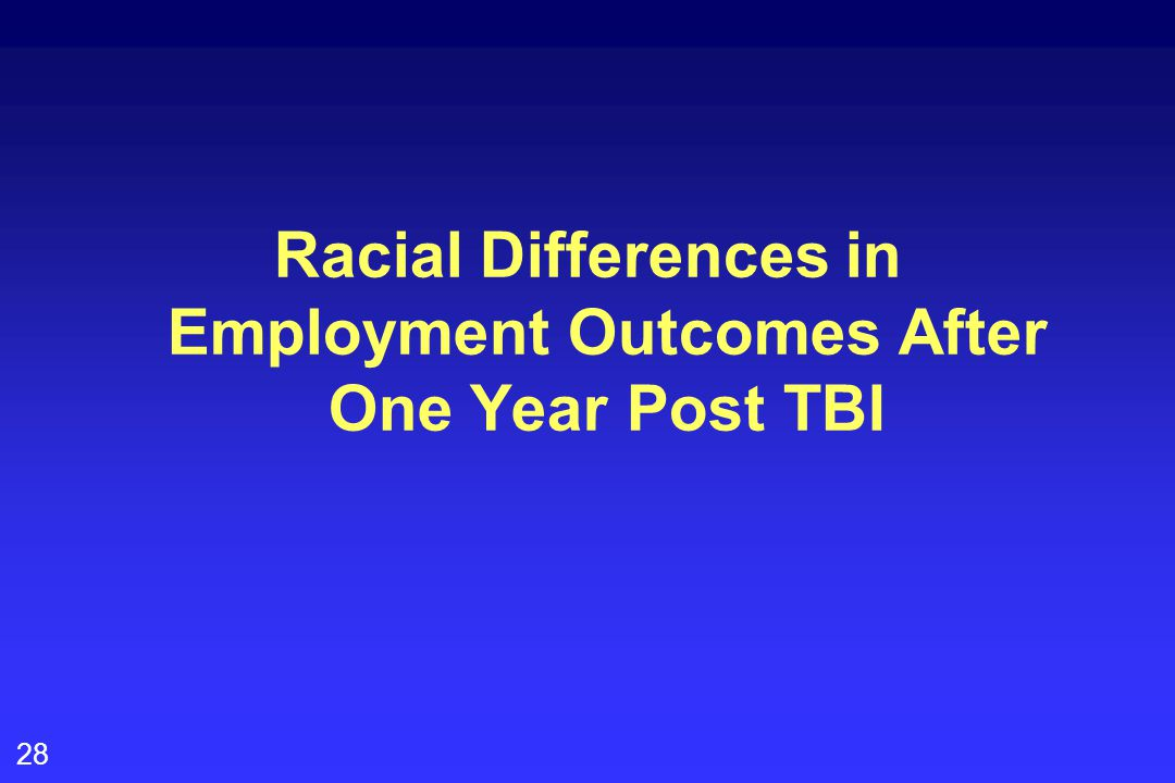 28 Racial Differences in Employment Outcomes After One Year Post TBI