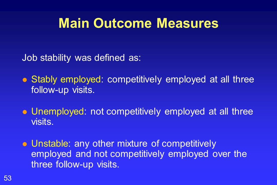 53 Main Outcome Measures Job stability was defined as: l Stably employed: competitively employed at all three follow-up visits. l Unemployed: not comp