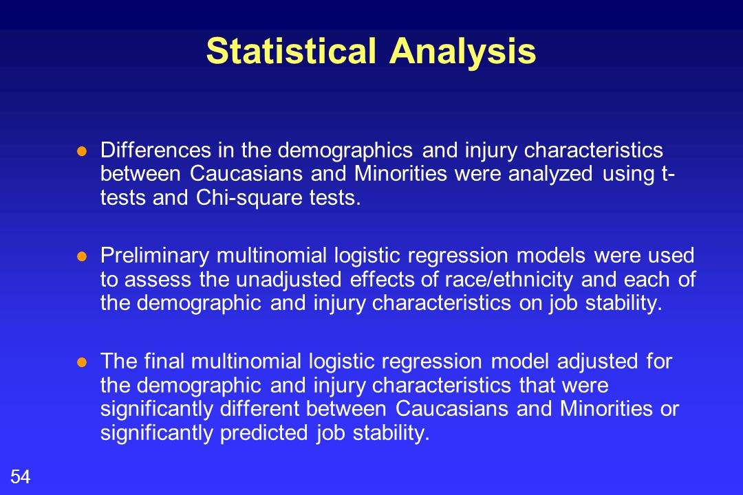 54 Statistical Analysis l Differences in the demographics and injury characteristics between Caucasians and Minorities were analyzed using t- tests and Chi-square tests.