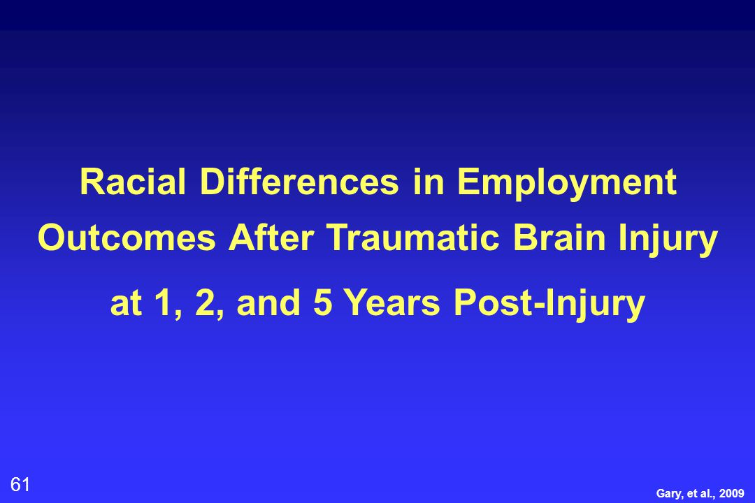61 Racial Differences in Employment Outcomes After Traumatic Brain Injury at 1, 2, and 5 Years Post-Injury Gary, et al., 2009