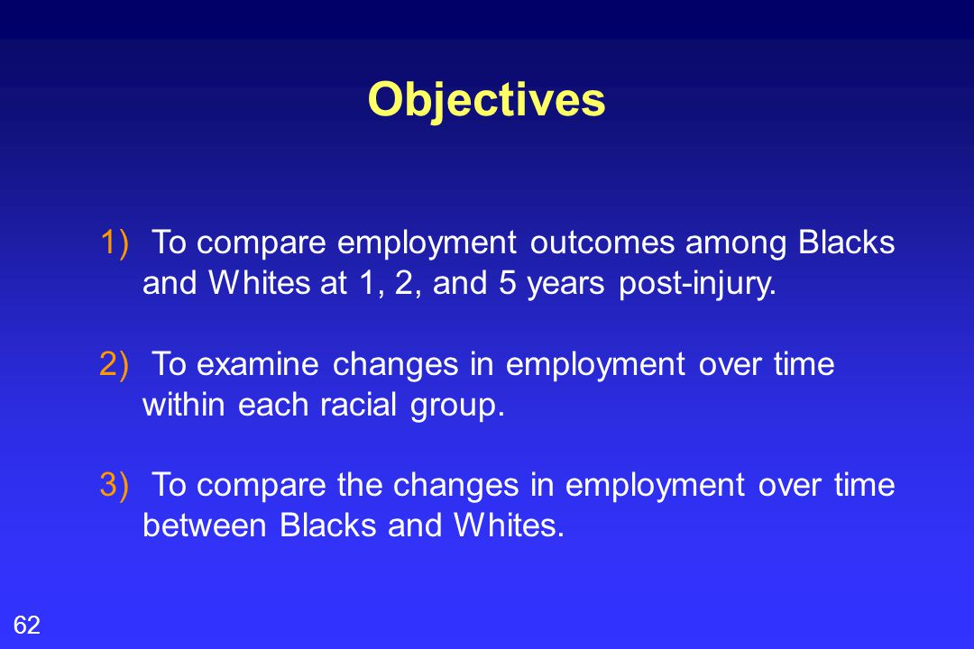 62 Objectives 1) To compare employment outcomes among Blacks and Whites at 1, 2, and 5 years post-injury.
