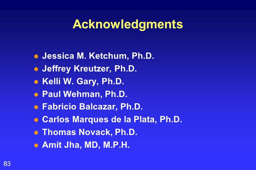 83 Acknowledgments l Jessica M. Ketchum, Ph.D. l Jeffrey Kreutzer, Ph.D.