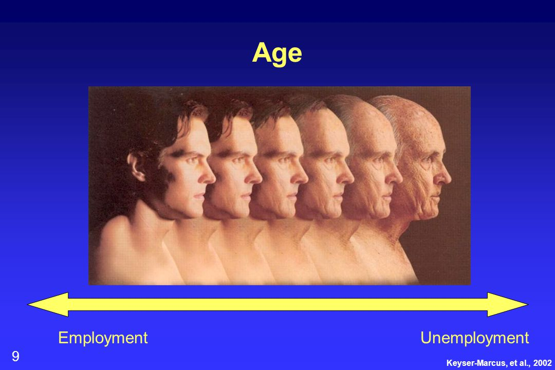 9 Age Keyser-Marcus, et al., 2002 EmploymentUnemployment