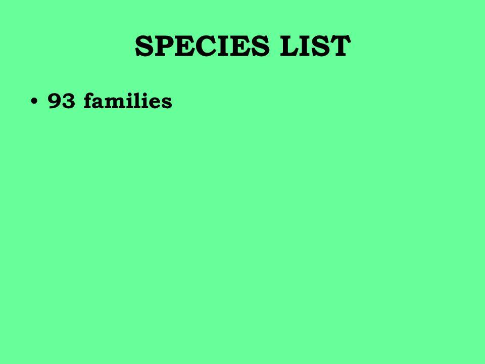 SPECIES LIST 93 families
