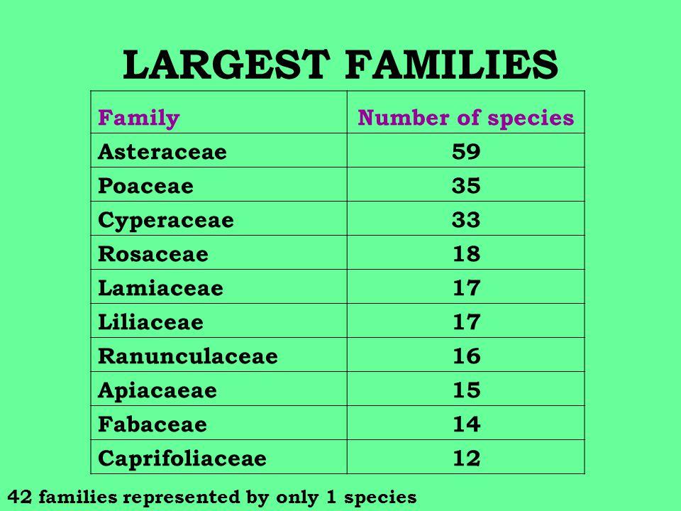 LARGEST FAMILIES FamilyNumber of species Asteraceae59 Poaceae35 Cyperaceae33 Rosaceae18 Lamiaceae17 Liliaceae17 Ranunculaceae16 Apiacaeae15 Fabaceae14 Caprifoliaceae12 42 families represented by only 1 species