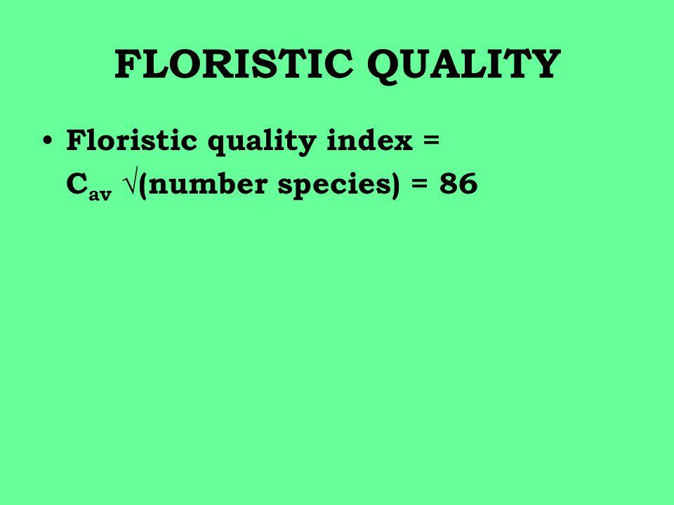 FLORISTIC QUALITY Floristic quality index = C av √(number species) = 86