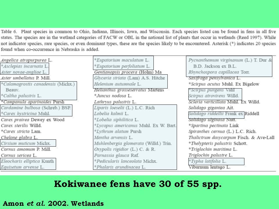 Amon et al. 2002. Wetlands Kokiwanee fens have 30 of 55 spp.
