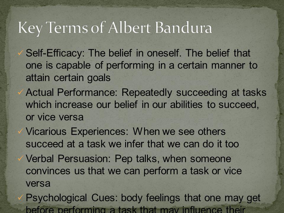 Self-Efficacy: The belief in oneself.