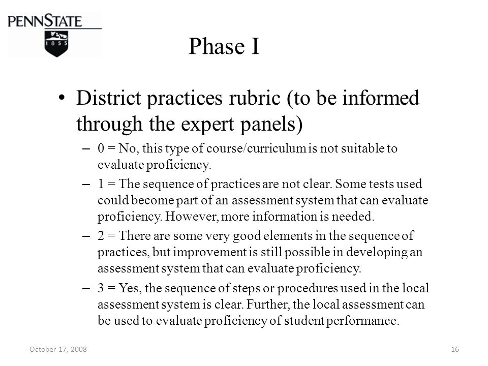 October 17, 200816 Phase I District practices rubric (to be informed through the expert panels) – 0 = No, this type of course/curriculum is not suitable to evaluate proficiency.