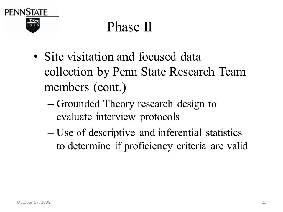 October 17, 200820 Phase II Site visitation and focused data collection by Penn State Research Team members (cont.) – Grounded Theory research design