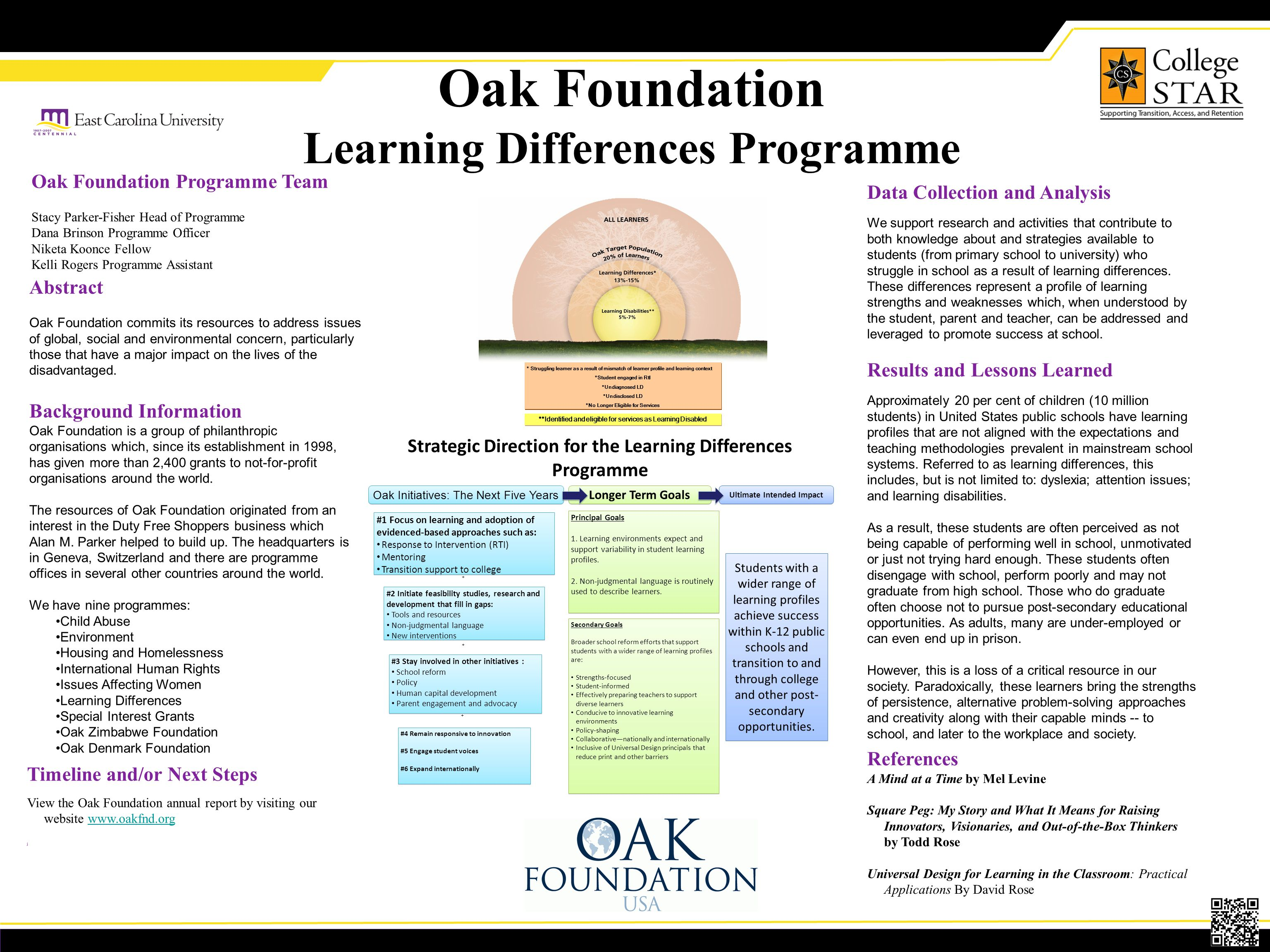 Oak Foundation Learning Differences Programme Abstract Oak Foundation commits its resources to address issues of global, social and environmental concern, particularly those that have a major impact on the lives of the disadvantaged.