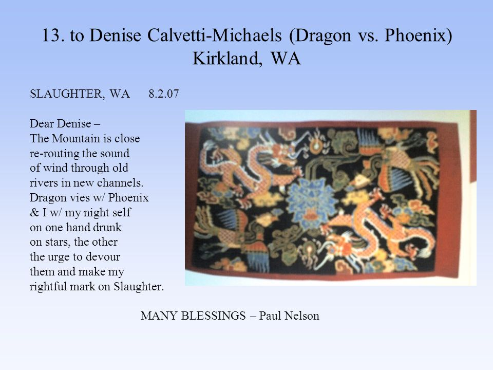 13. to Denise Calvetti-Michaels (Dragon vs.