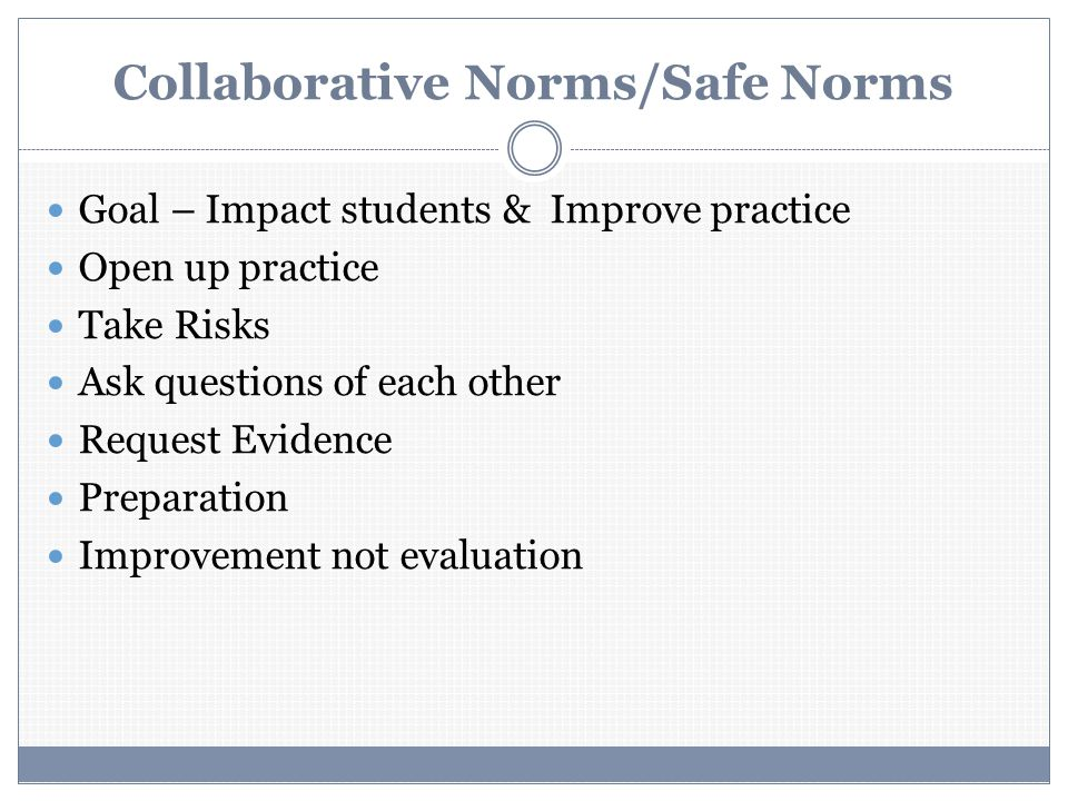 Collaborative Norms/Safe Norms Goal – Impact students & Improve practice Open up practice Take Risks Ask questions of each other Request Evidence Preparation Improvement not evaluation