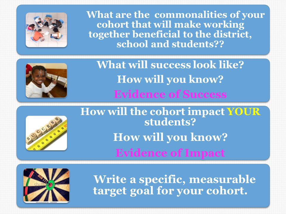What are the commonalities of your cohort that will make working together beneficial to the district, school and students?.