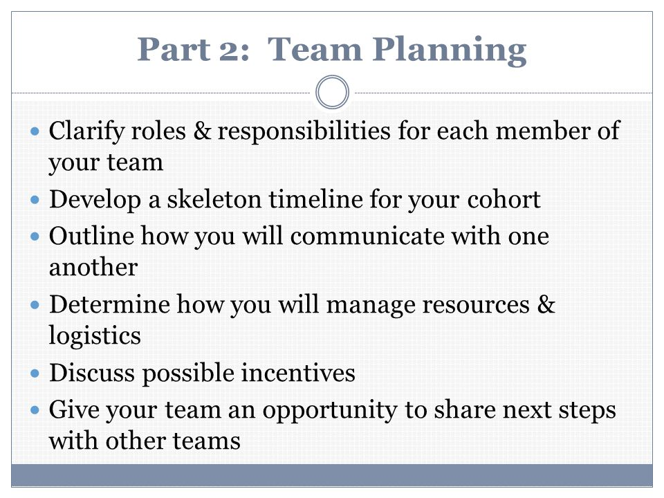 Part 2: Team Planning Clarify roles & responsibilities for each member of your team Develop a skeleton timeline for your cohort Outline how you will communicate with one another Determine how you will manage resources & logistics Discuss possible incentives Give your team an opportunity to share next steps with other teams