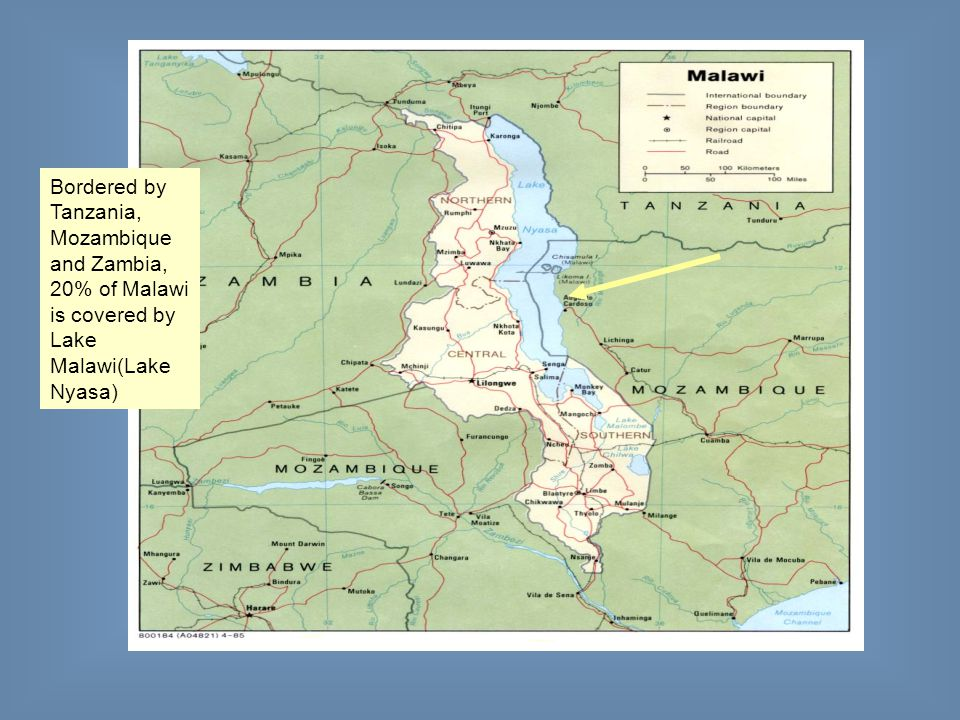 Bordered by Tanzania, Mozambique and Zambia, 20% of Malawi is covered by Lake Malawi(Lake Nyasa)