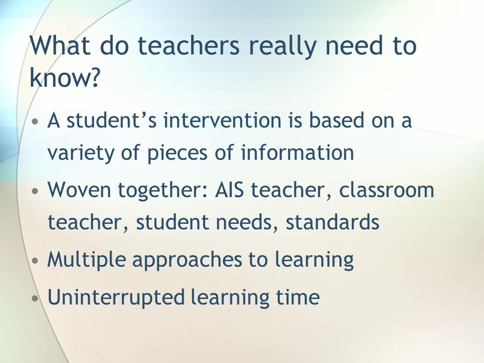 What do teachers really need to know.