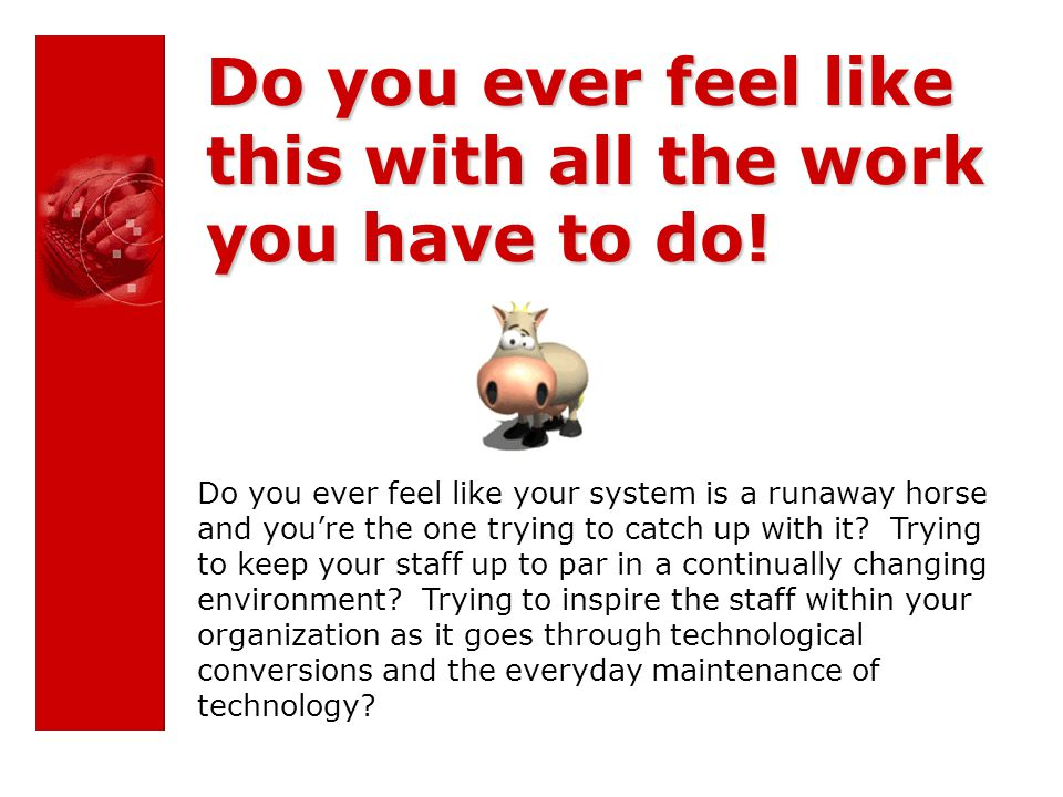 Do you ever feel like your system is a runaway horse and you're the one trying to catch up with it.