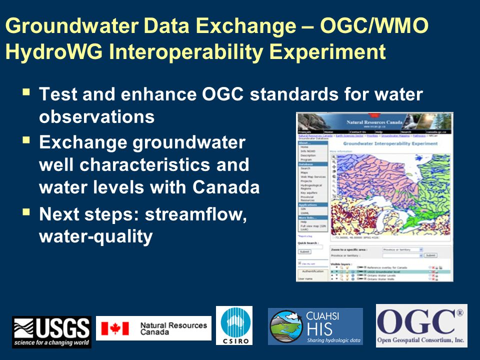 National Groundwater Monitoring Network  American Committee on Water Information Subcommittee on Groundwater  Pilot portal under development for 6 states:  MT, MN, TX, IL, IN, NJ  Built on open standards and leverages interoperability experiment within HydroWG