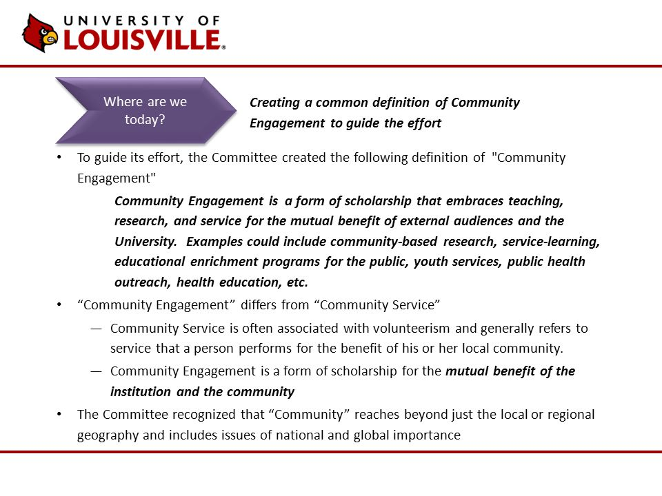 To guide its effort, the Committee created the following definition of Community Engagement Community Engagement is a form of scholarship that embraces teaching, research, and service for the mutual benefit of external audiences and the University.