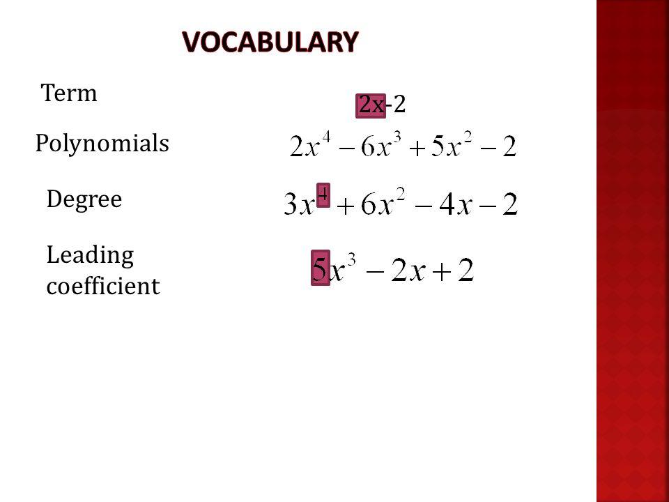 Term Polynomials Degree Leading coefficient 2x-2