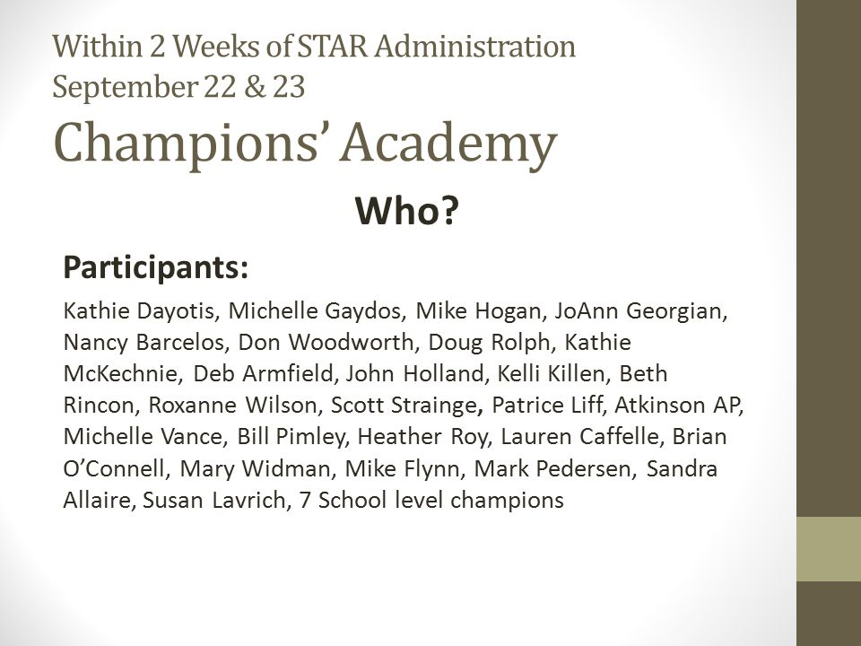 Champions' Academy Cont.
