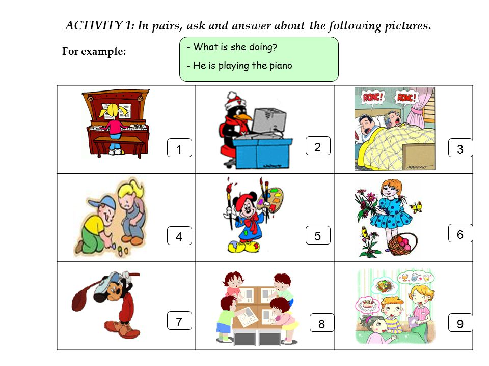 ACTIVITY 1: In pairs, ask and answer about the following pictures.