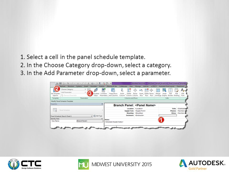 1.Select a cell in the panel schedule template.