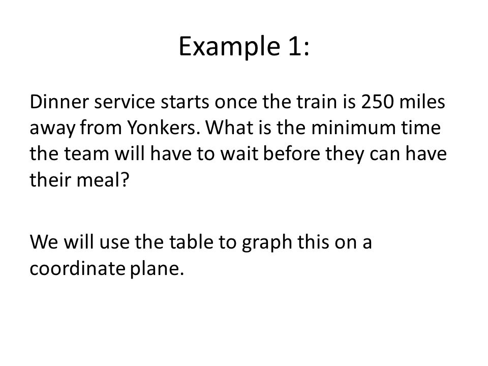 Example 1: Dinner service starts once the train is 250 miles away from Yonkers.
