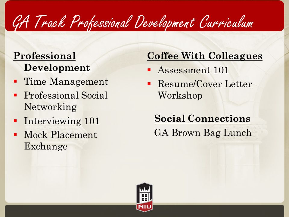 Professional Development  Time Management  Professional Social Networking  Interviewing 101  Mock Placement Exchange Coffee With Colleagues  Assessment 101  Resume/Cover Letter Workshop Social Connections GA Brown Bag Lunch GA Track Professional Development Curriculum