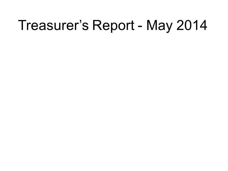 Treasurer's Report - May 2014