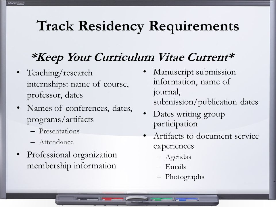 Track Residency Requirements *Keep Your Curriculum Vitae Current* Teaching/research internships: name of course, professor, dates Names of conferences, dates, programs/artifacts – Presentations – Attendance Professional organization membership information Manuscript submission information, name of journal, submission/publication dates Dates writing group participation Artifacts to document service experiences – Agendas – Emails – Photographs