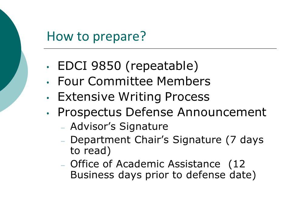 How to prepare? EDCI 9850 (repeatable) Four Committee Members Extensive Writing Process Prospectus Defense Announcement – Advisor's Signature – Depart