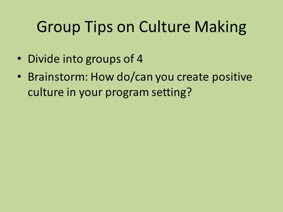 Group Tips on Culture Making Divide into groups of 4 Brainstorm: How do/can you create positive culture in your program setting?