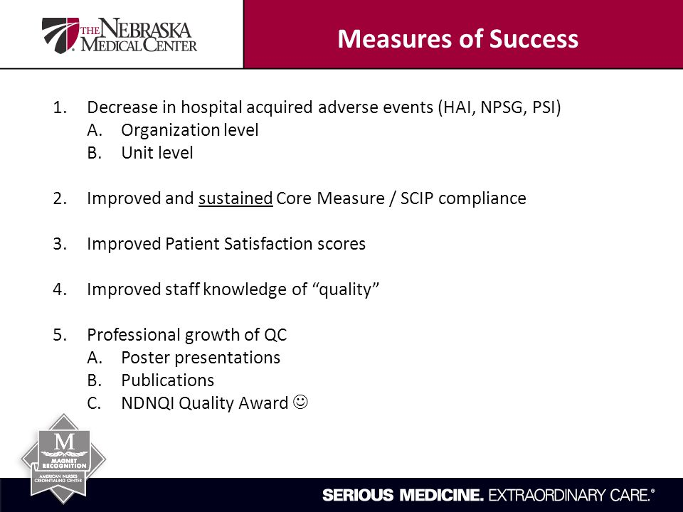 1.Decrease in hospital acquired adverse events (HAI, NPSG, PSI) A.Organization level B.Unit level 2.Improved and sustained Core Measure / SCIP compliance 3.Improved Patient Satisfaction scores 4.Improved staff knowledge of quality 5.Professional growth of QC A.Poster presentations B.Publications C.NDNQI Quality Award Measures of Success