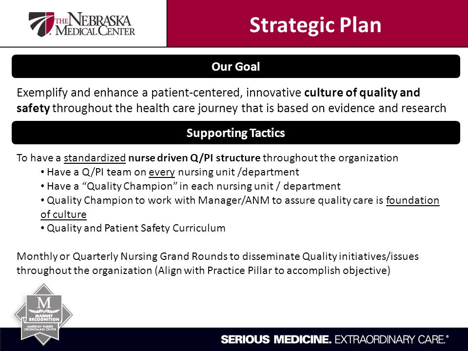 Our Goal Exemplify and enhance a patient-centered, innovative culture of quality and safety throughout the health care journey that is based on evidence and research Supporting Tactics To have a standardized nurse driven Q/PI structure throughout the organization Have a Q/PI team on every nursing unit /department Have a Quality Champion in each nursing unit / department Quality Champion to work with Manager/ANM to assure quality care is foundation of culture Quality and Patient Safety Curriculum Monthly or Quarterly Nursing Grand Rounds to disseminate Quality initiatives/issues throughout the organization (Align with Practice Pillar to accomplish objective) Strategic Plan