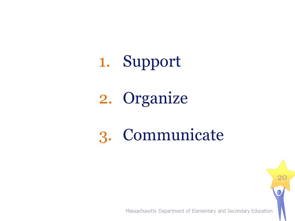 1.Support 2.Organize 3.Communicate 20 Massachusetts Department of Elementary and Secondary Education