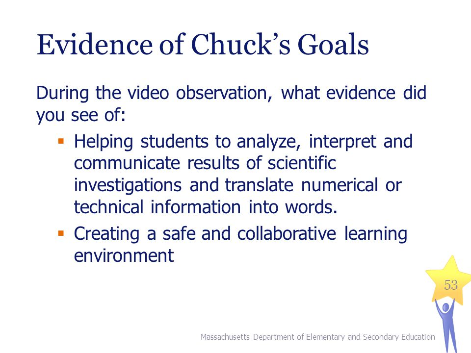 Draft Feedback for Chuck  Draft feedback for Chuck based on the evidence you recorded  Come to consensus with your table on two to three pieces of feedback for Chuck Massachusetts Department of Elementary and Secondary Education 54