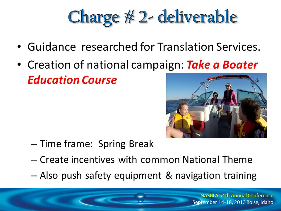 NASBLA 54th Annual Conference September 14-18, 2013 Boise, Idaho Use USCG Performance Report Part II data to assess current effectiveness of boater education outreach and awareness programs.
