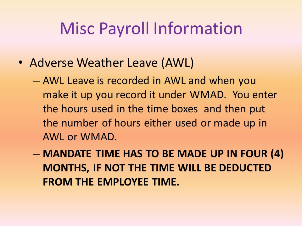 Misc Payroll Information Court Leave and Jury Duty – This is recorded as CORT in ETS-PVA. Any employee that is called to testify in a court case or to